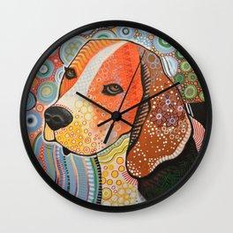 Rocky ... Abstract pet dog portrait art, Beagle Wall Clock