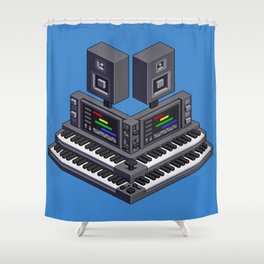 Electronic music altar — isometric pixel art Shower Curtain