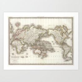 Vintage Map of The World (1832) Art Print