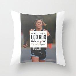 Run Like A Girl Lady Boss Runner Queen Princess Throw Pillow