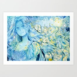 Witch & Creatures Art Print
