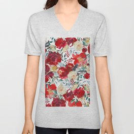 Red teal hand painted boho watercolor roses floral Unisex V-Neck