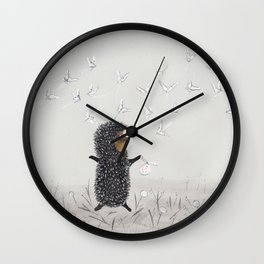 Hedgehog in the Fog fly like butterflies Wall Clock