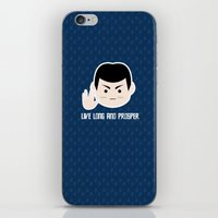 spock iPhone & iPod Skins featuring Star trek vulcan llap Spock by spaceita