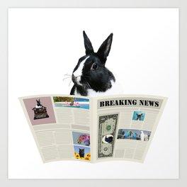 Newspaper Breaking News Bunny Rabbit - Author Writer Art Print