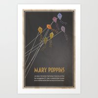 mary poppins Art Prints featuring Mary Poppins by Logophilia Design