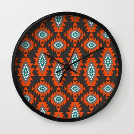 Ethnic shapes on dark background Wall Clock