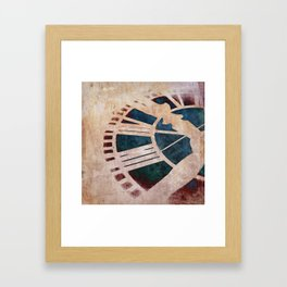 Peach Pink and Night Blue Clock Face Framed Art Print