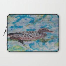Duck, Encaustic painting by Karen Chapman Laptop Sleeve