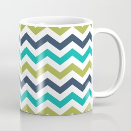Chevron Navy Lime Turquoise Pattern Coffee Mug
