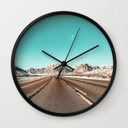 Vintage Desert Road // Winter in the Mojave of Las Vegas at Red Rock Canyon National Park Wall Clock
