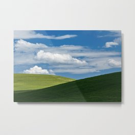 White clouds above green hills Metal Print