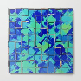 Abstract Squares Blue & Green Metal Print