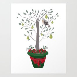 12 Days of Christmas Partridge in a Pear Tree Art Print