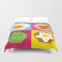marceline Duvet Covers featuring Kawaii Breakfast by Marceline Smith