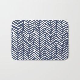 Boho Herringbone Pattern, Navy Blue and White Bath Mat