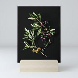 Vintage Olive Botanical Illustration on Black (Portrait) Mini Art Print
