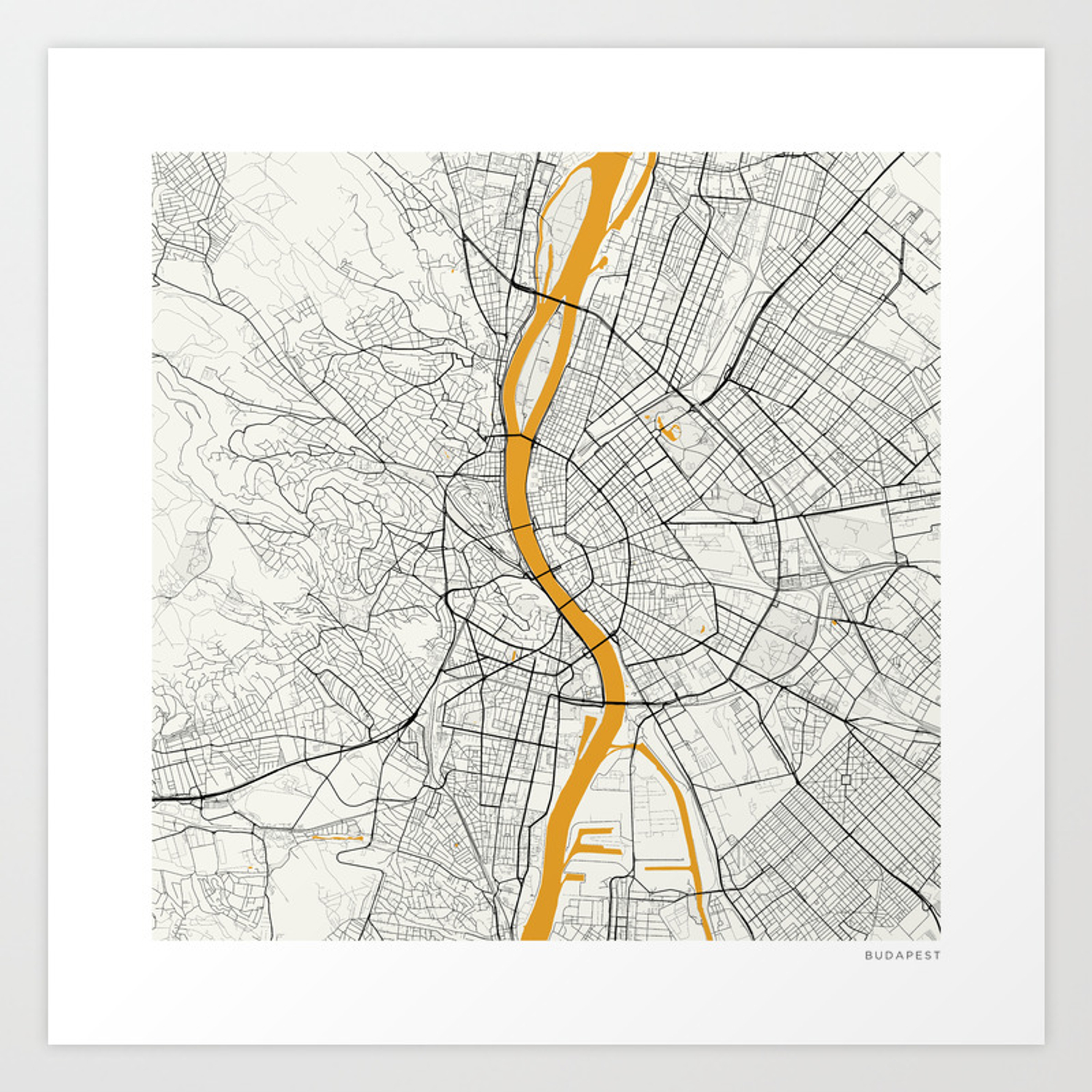 100 Pictures of Budapest Map Art
