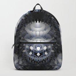 3D layers of mandala in blue-white-grey-black Backpack