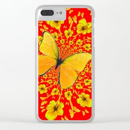 BUTTERFLIES RED  AMARYLLIS FLOWERS ABSTRACT ART Clear iPhone Case