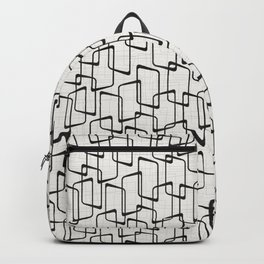 Black Retro Rounded Rectangles Geometric Pattern Backpack