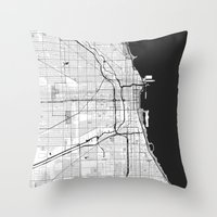 chicago map Throw Pillows featuring Chicago Map Gray by City Art Posters