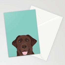 Chocolate Lab dog breed portrait pet art dog lover gifts labrador retriever Stationery Cards
