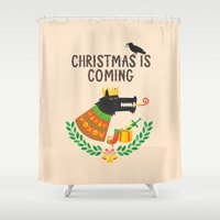 thrones Shower Curtains featuring Christmas is coming by Wharton