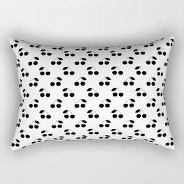 Black Cherries On White Rectangular Pillow