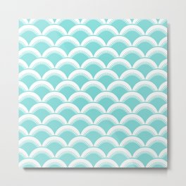 Japanese Fan Pattern 125 Aqua Metal Print