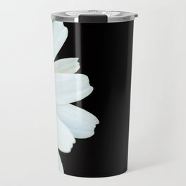 Hello Daisy - White Flower Black Background #decor #society6 #buyart Travel Mug