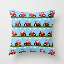 Toy tractor pattern Throw Pillow