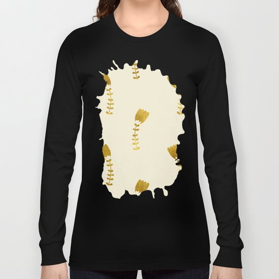Cream Gold Foil 03 Long Sleeve T-shirt