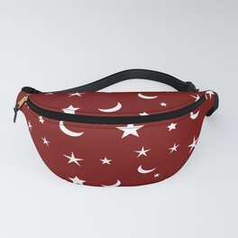 White moon and star pattern on red background Fanny Pack