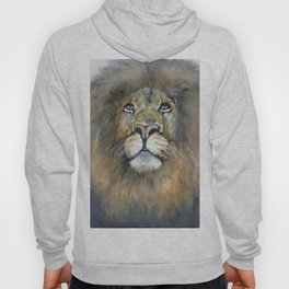 Lion Portrait - Watercolor Art 'His Majesty' Hoody