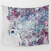 san diego Wall Tapestries featuring San Diego map by MapMapMaps.Watercolors