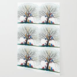 Memphis Whimsical Cats in Tree Wallpaper