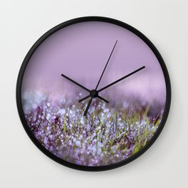 Morning dew on grass Wall Clock