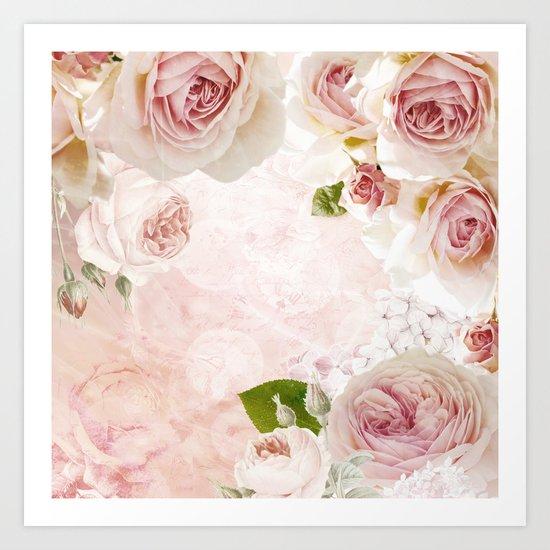 Vintage Flower Pink English Roses Collage Art Print
