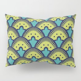 Fan Pattern Chartreuse Blue and Turquoise 991 Pillow Sham