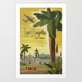 Los Angeles fly TWA! Trans World Airlines - Vintage Travel Poster Art Print