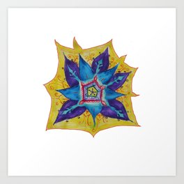 Star Mandala Hand Painet Energy Art Print