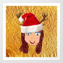 Gold Christmas | Kids Painting | Christmas Spirit Art Print
