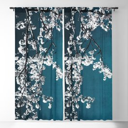 White Blossoms Blackout Curtain