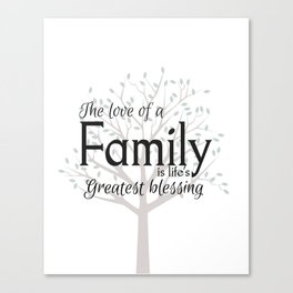 Family tree wall art quote Canvas Print