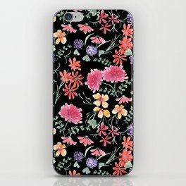 Bright flowers on a black background. iPhone Skin