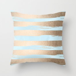 Paint Stripes Gold Tropical Ocean Sea Turquoise Throw Pillow