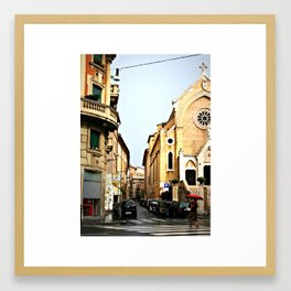 Lady With An Umbrella in Rome Italy Framed Art Print