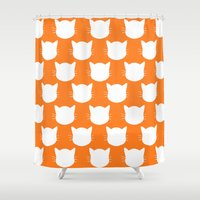 ginger Shower Curtains featuring Ginger Kitty by The Wellington Boot