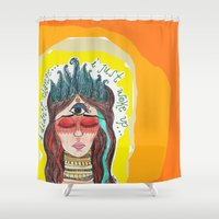 third eye Shower Curtains featuring third eye by ivette mancilla